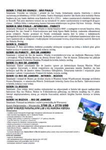 Program pielgrzmko-wycieczki do Brazylii i Argentyny
