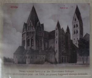 Nowy kościół parafialny przed ukończeniem prac ok. 1906 r. - z prawej strony fragment starego kościoła.