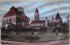 Pocztówka z lat 1907-1918. Widok od strony ogrodu przy plebani.