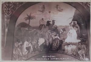 Obraz ścienny w transepcie przedstawiający Boże Narodzenie.