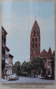 Fasada kościoła na pocztówce z 1964 roku.